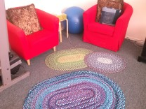 All three braided rag rugs