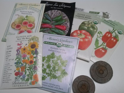 Seed packets and peat pellets