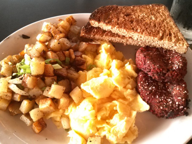 Potatoes, eggs, toast, and sausage