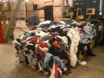 Baled clothing ready to be shipped out